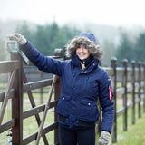 Horze Supreme Women's Brenda Short Parka Jacket in Navy - Saratoga Saddlery