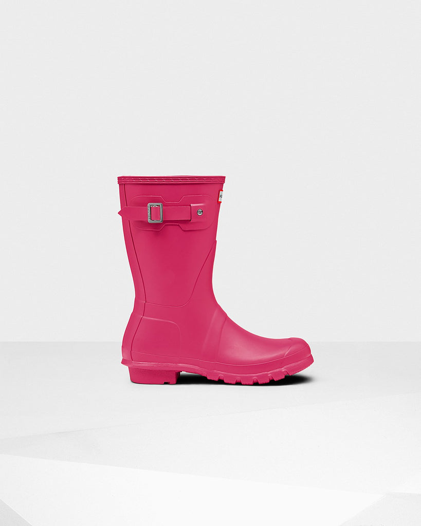 Hunter Original Short Matte Rain Boots Bright Pink
