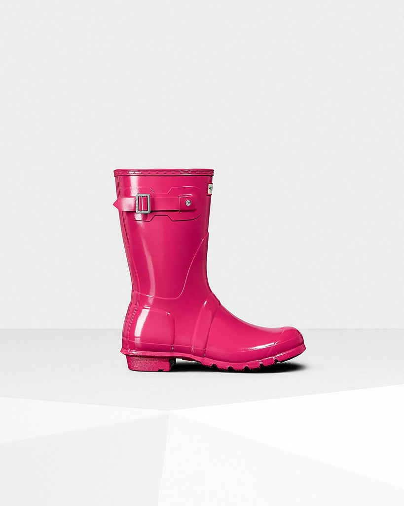 Hunter Orginal Short Gloss Rain Boot Bright Pink
