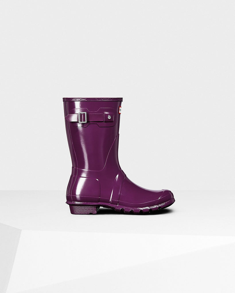 Hunter Orginal Short Gloss Rain Boot Violet
