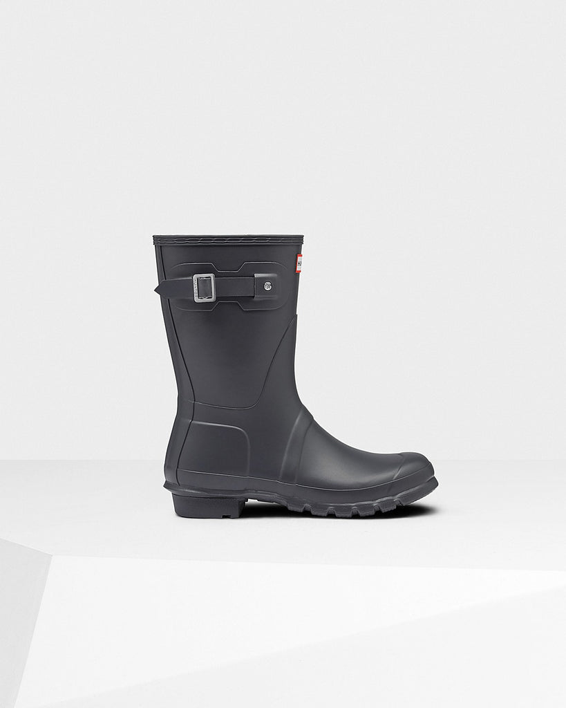 Hunter Original Short Matte Rain Boots Dark Slate