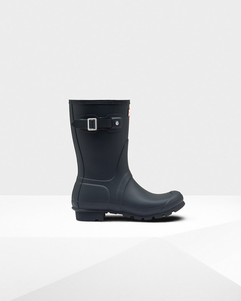 Hunter Original Short Matte Rain Boots Navy