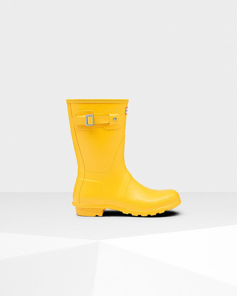 Hunter Original Short Matte Rain Boots Yellow