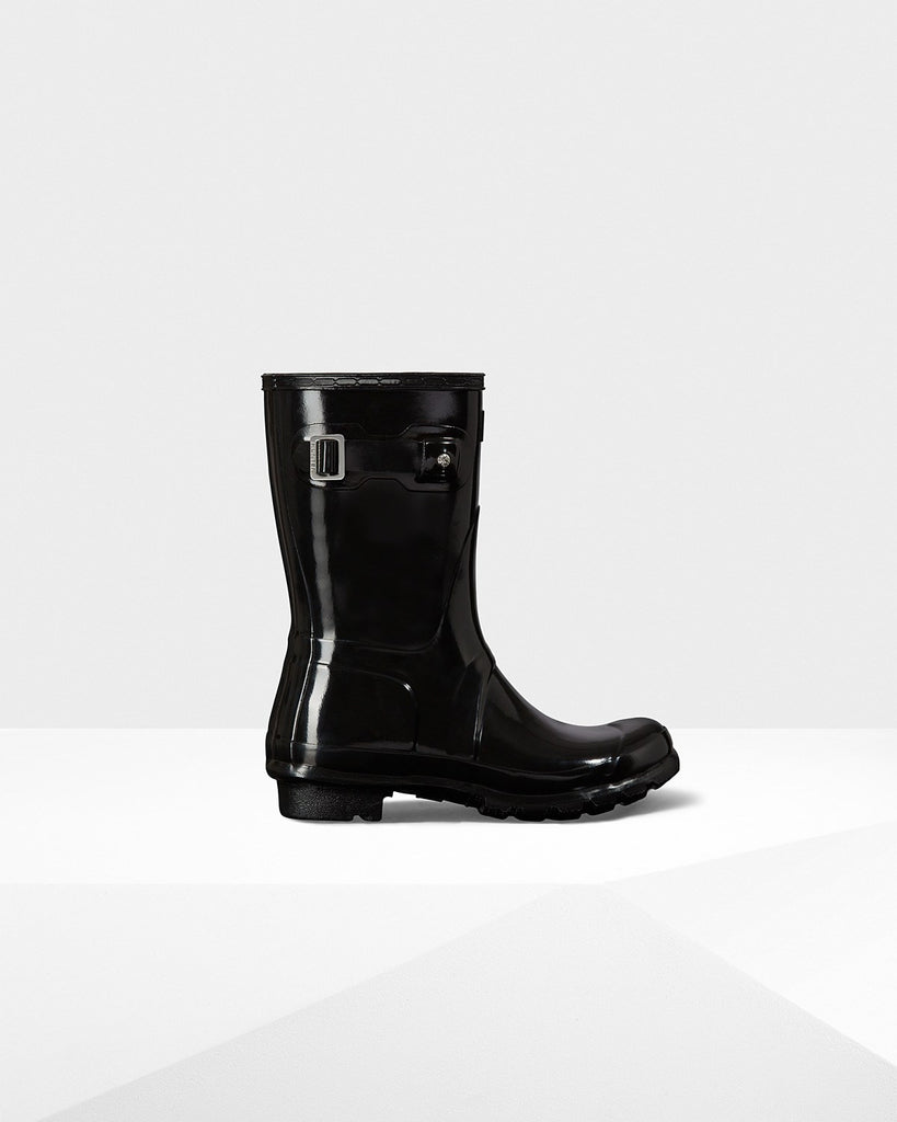 Hunter Orginal Short Gloss Rain Boot Black