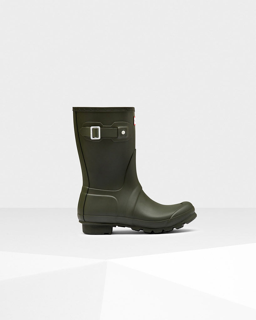 Hunter Original Short Matte Rain Boots Dark Olive