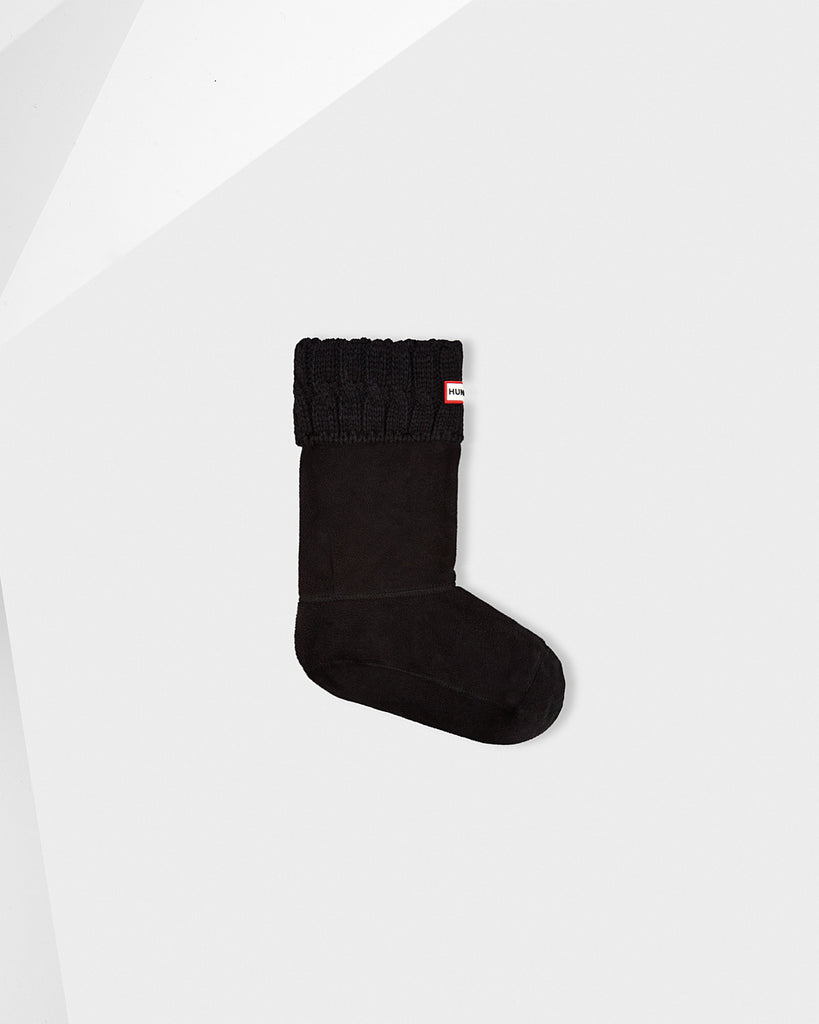 Hunter Original Short Six-Stitch Cable Boot Socks in Black - Saratoga Saddlery
