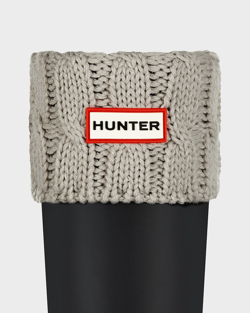 Hunter Original Short Six-Stitch Cable Boot Socks in Greige - Saratoga Saddlery