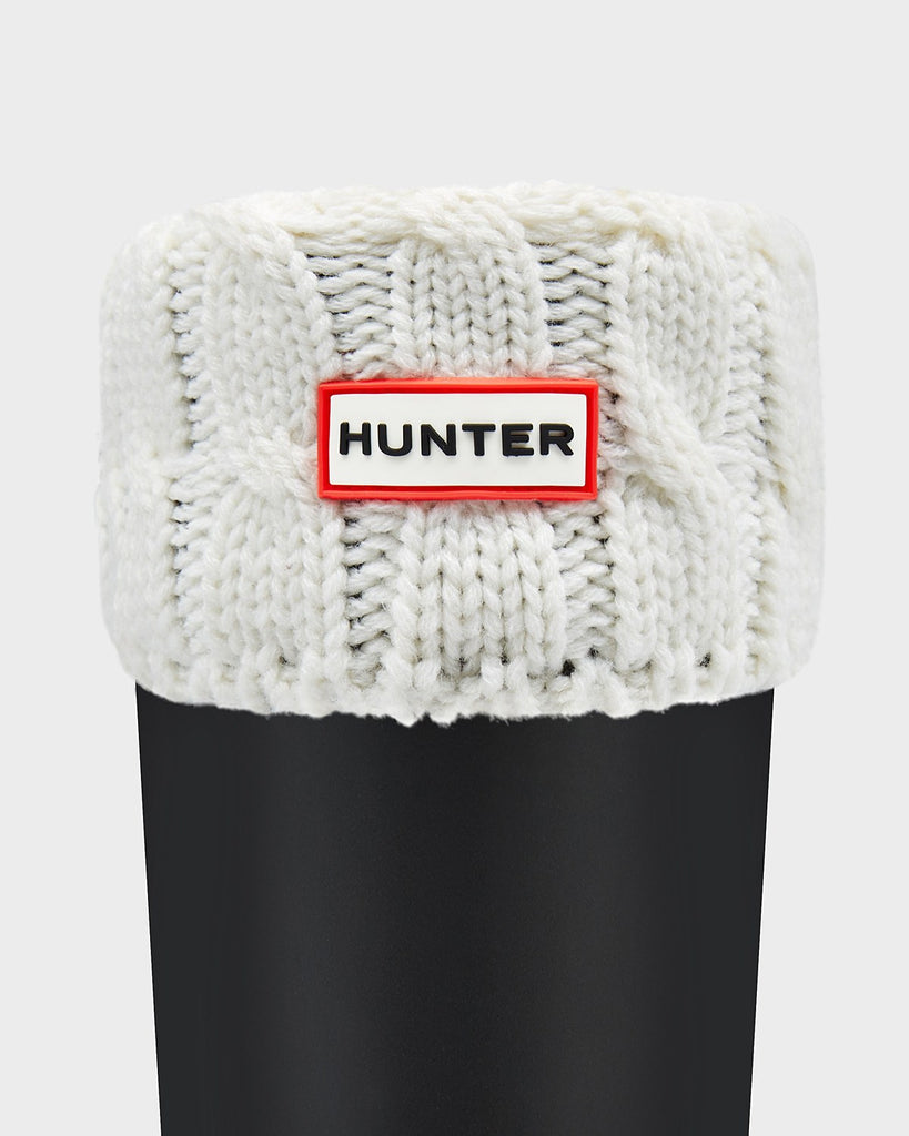 Hunter Original Short Six-Stitch Cable Boot Socks in Natural White - Saratoga Saddlery