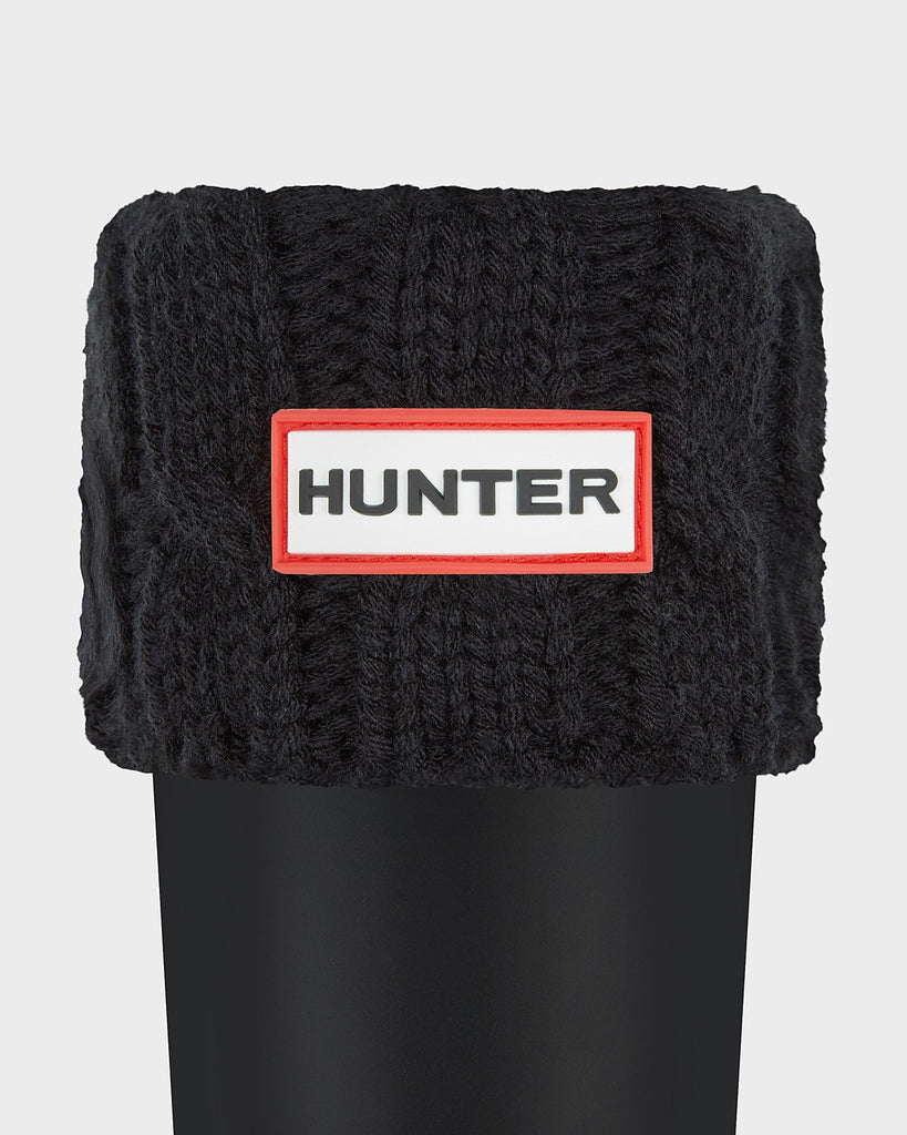 Hunter Original Tall Six-Stitch Cable Boot Socks in Black - Saratoga Saddlery