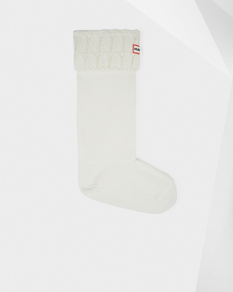 Hunter Original Tall Six-Stitch Cable Boot Socks in Natural White - Saratoga Saddlery