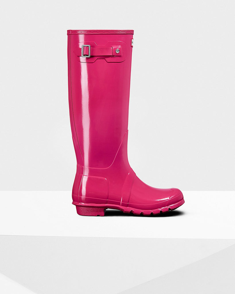 Hunter Original Tall Gloss Rain Boots Bright Pink
