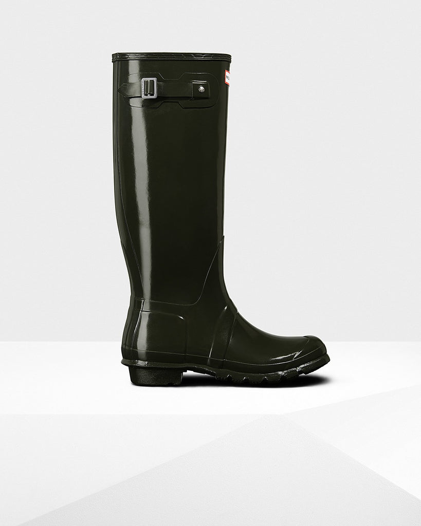 Hunter Original Tall Gloss Rain Boots Dark Olive