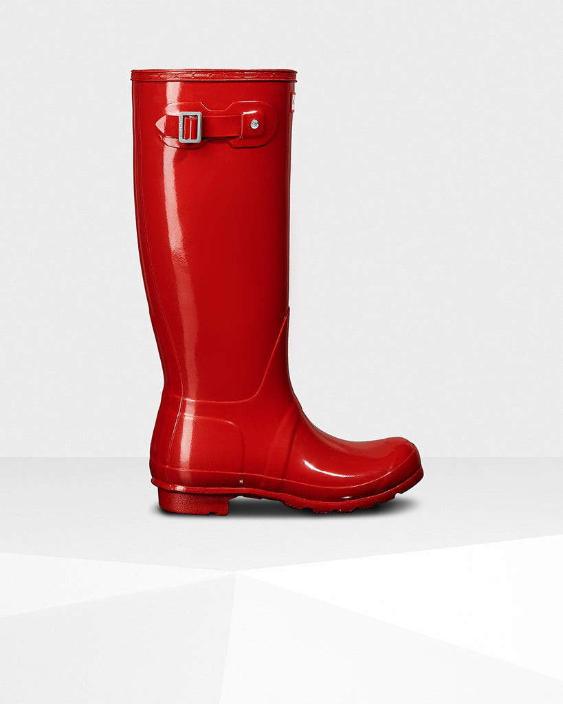 Hunter Original Tall Gloss Rain Boots - Military Red - Saratoga Saddlery
