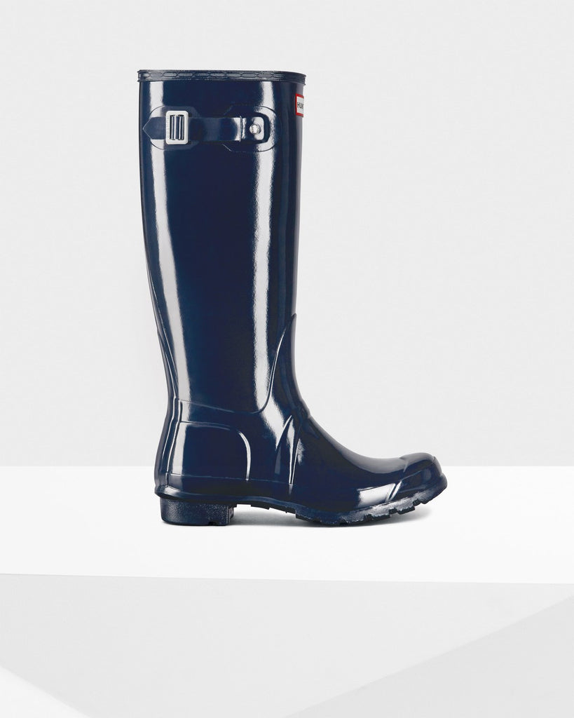 Hunter Original Tall Gloss Rain Boots Navy