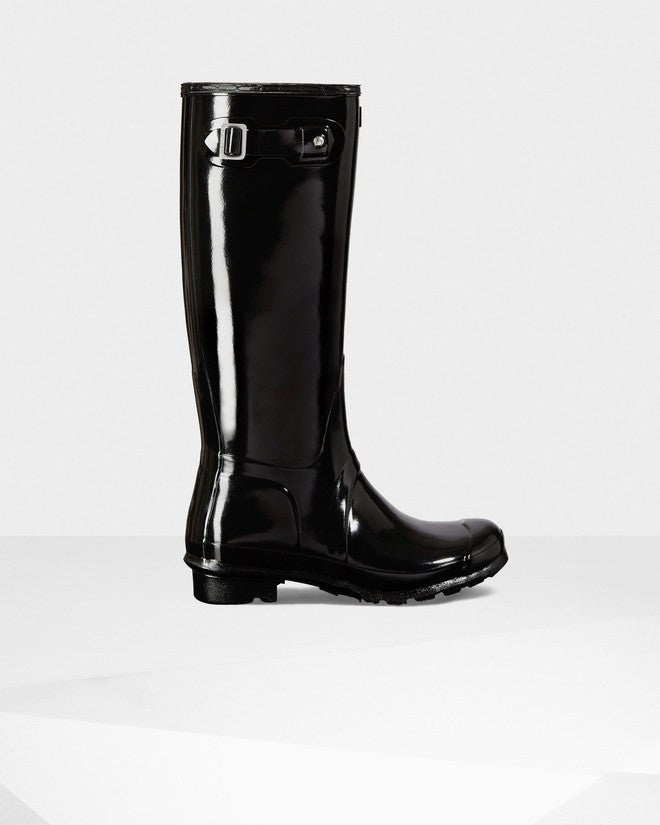 Hunter Original Tall Gloss Rain Boots Black