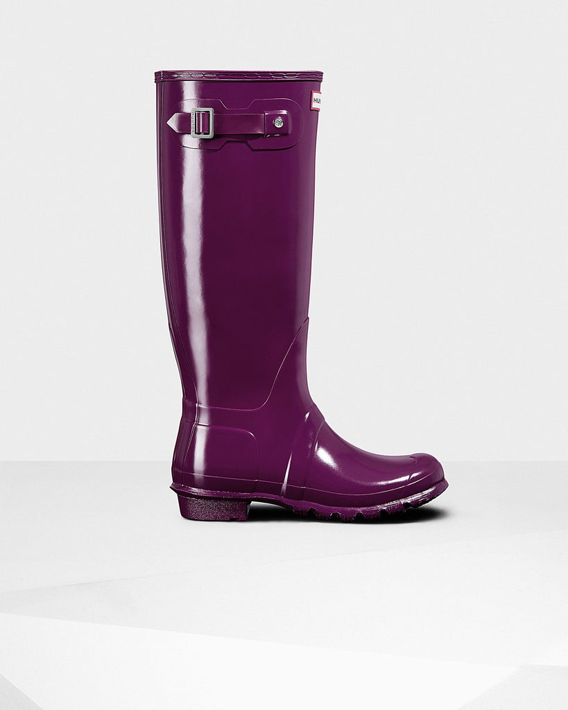 Hunter Original Tall Gloss Rain Boots Violet