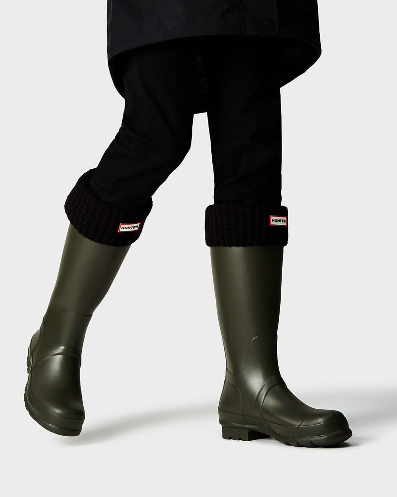Hunter Half Cardigan Stitch Boot Socks in Black - Saratoga Saddlery