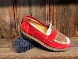 Ammann Interlaken Shoe in Red Suede with Tan/White Calf Hair