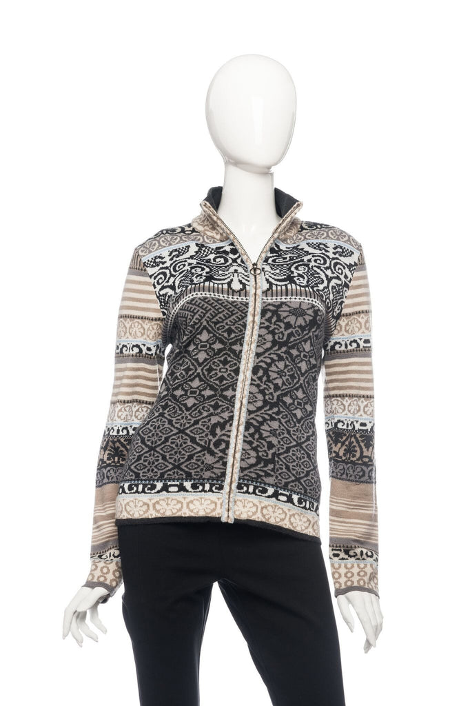 Icelandic Design Multi Patterned Chloe Zip Sweater