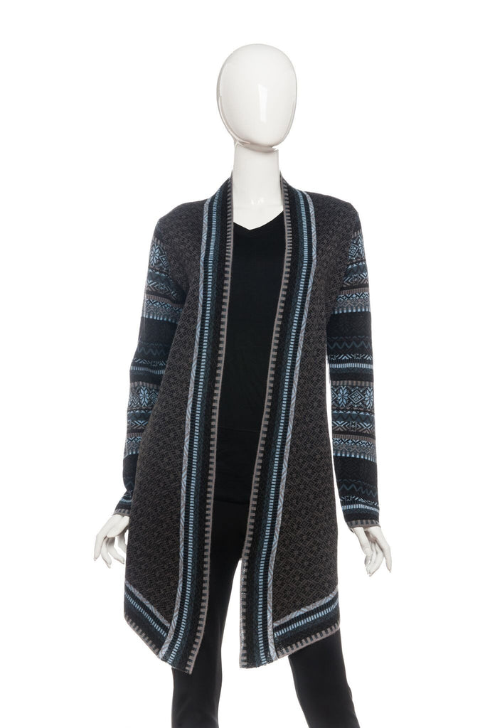 Icelandic Design Jewel Open Wrap Full Length Cardigan