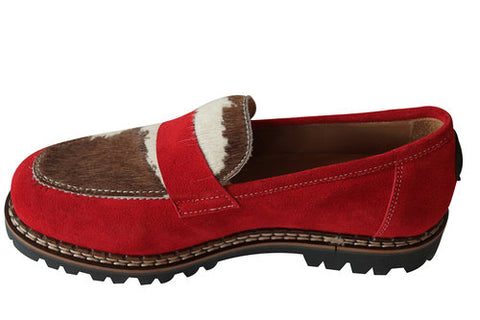 Ammann Chueli Shoe in Red Suede and White/Tan Calf Hair