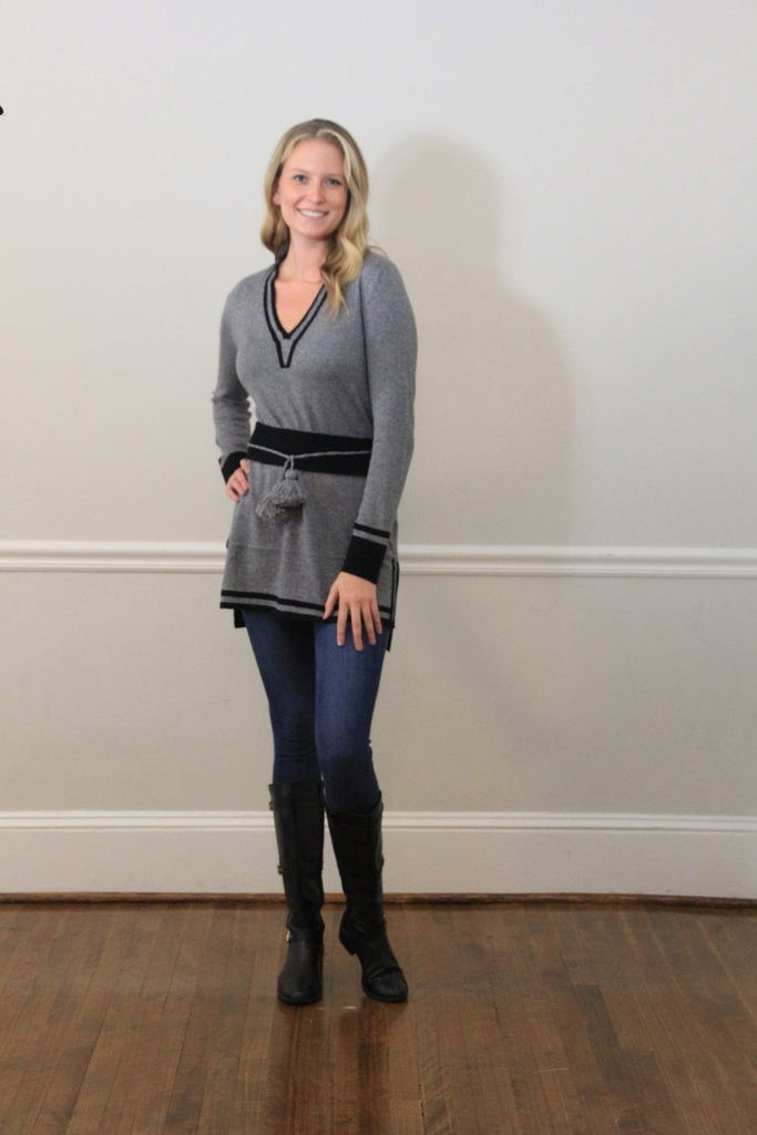 IsleField Carmen Mandarin Tunic Sweater in Black/Grey