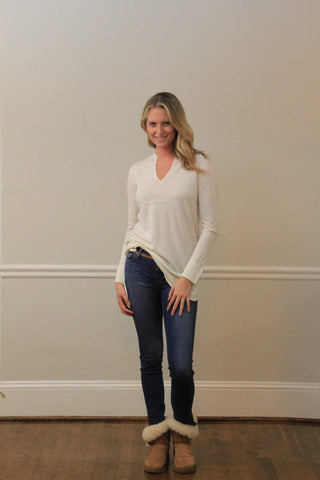 IsleField Boatneck Cashmere Top in Horsin' Around Pattern