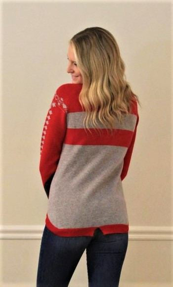 IsleField Madison Crew Sweater in Red and Grey