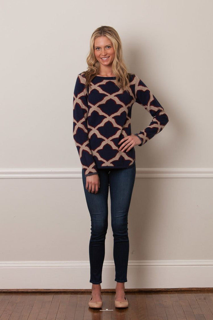 IsleField Boatneck Fleur de Isle Women's Cashmere Sweater - Saratoga Saddlery & International Boutiques