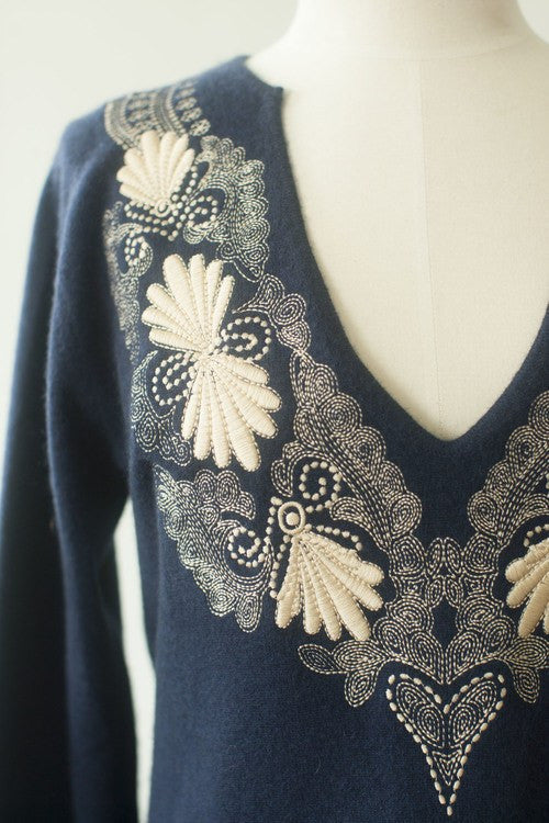 IsleField Isla Notch Neck Tunic Embroidered Top in Navy
