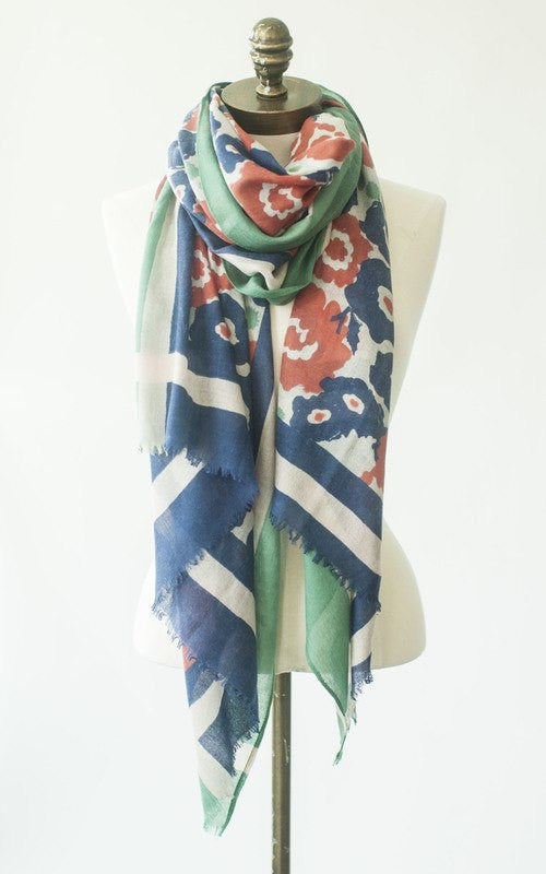 IsleField Perfect Scarf in Multi Poppy With Green/Navy Border