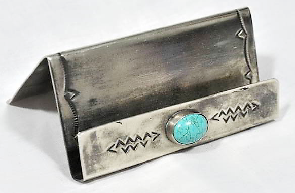 J. Alexander Handmade Rustic Silver & Turquoise Business Card Holder - Saratoga Saddlery & International Boutiques