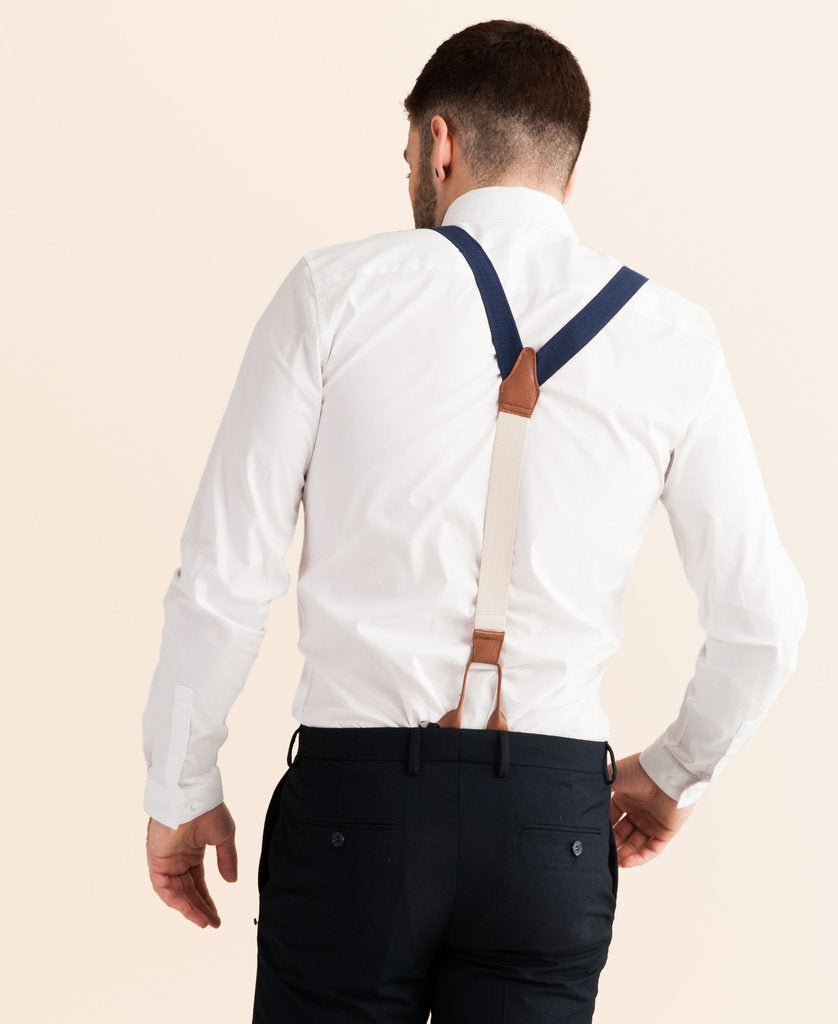 JJ Suspenders Navy Tides - Classic Navy Suspenders - Saratoga Saddlery & International Boutiques