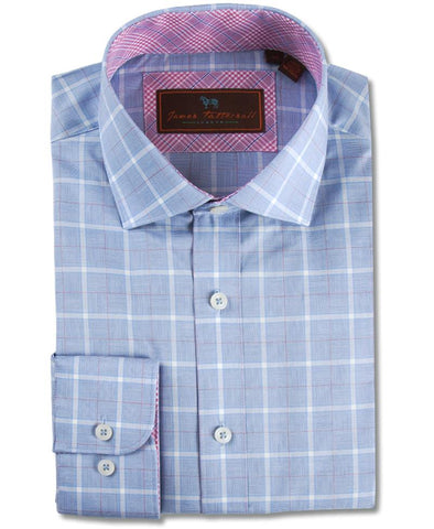 Au Noir Barbados Men's Dress Shirt in Light Blue