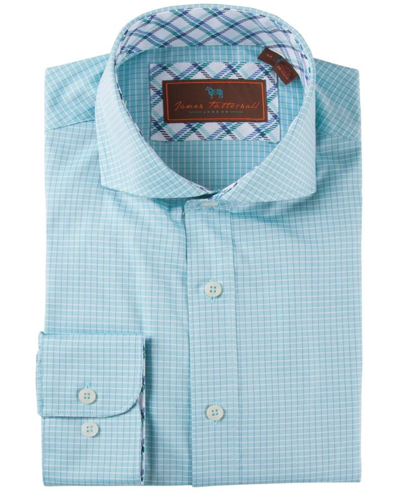 James Tattersall Men's Dress Shirt in Teal JWL022 - Saratoga Saddlery & International Boutiques