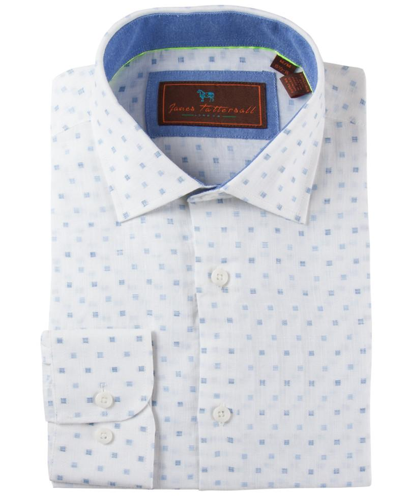 James Tattersall Men's Dress Shirt in Blue JWLL03 - Saratoga Saddlery & International Boutiques