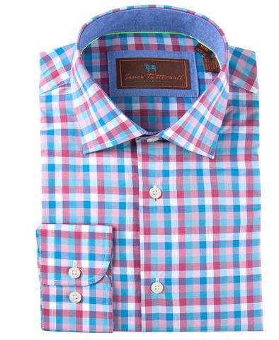 James Tattersall Men's Woven Sports Shirt in Pink Plaid Check - Saratoga Saddlery & International Boutiques