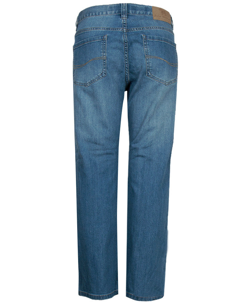 James Tattersall Men's Straight Leg Jeans in Denim Blue