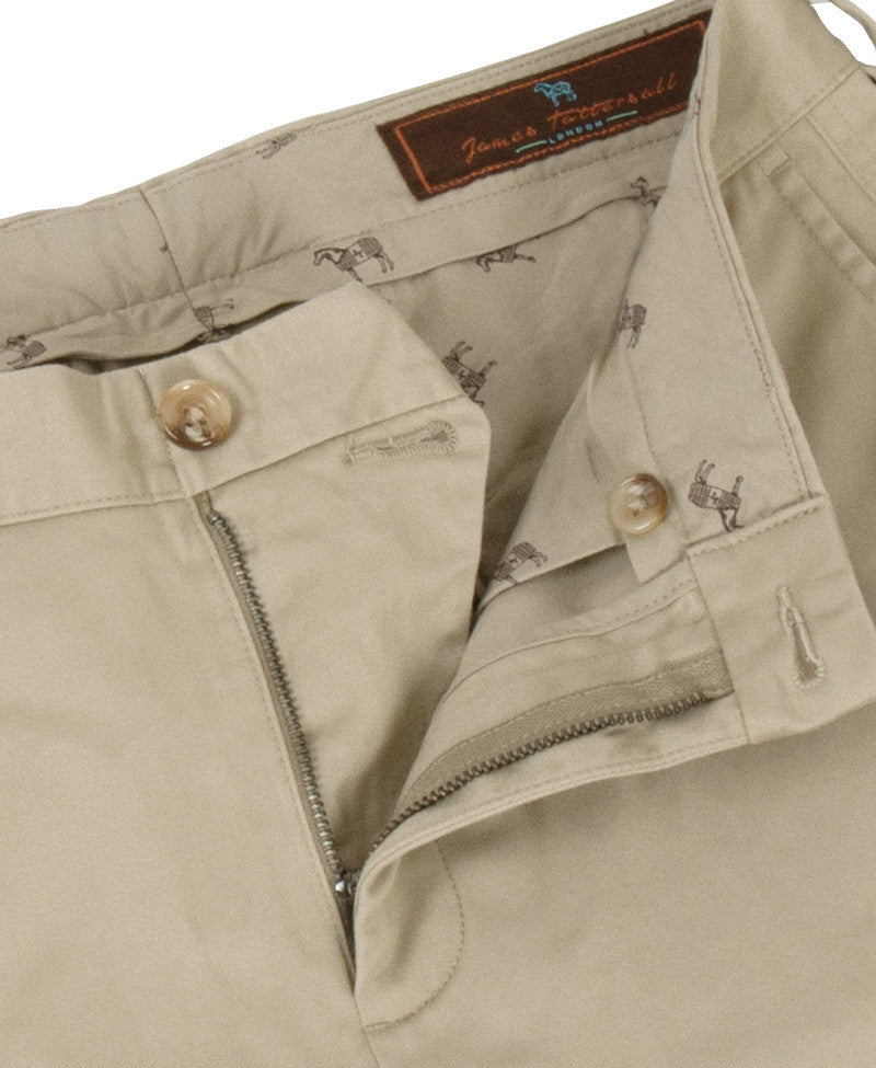 James Tattersall Pima Flat Front Pant - BRITISH KHAKI