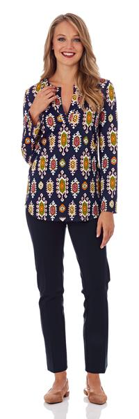 Jude Connally Josie Tunic Top in Medallion Navy - Saratoga Saddlery & International Boutiques