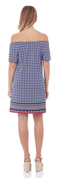 Jude Connally Joy Off-the-Shoulder Dress in Mixed Summer Geo Navy