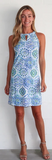 Jude Connally Womens Lisa Dress in Mosaic Tile Periwinkle - Saratoga Saddlery & International Boutiques