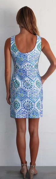 Jude Connally Womens Mary Pat Dress in Mosaic Tile Periwinkle ON SALE - Saratoga Saddlery & International Boutiques