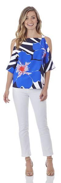 Jude Connally Adele Open-Shoulder Top in Bold Floral Sapphire - FINAL SALE - Saratoga Saddlery & International Boutiques