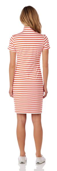Jude Connally Alexia Ponte Dress in Classic Stripe White & Apricot SALE! - Saratoga Saddlery & International Boutiques