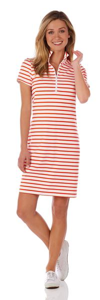 Jude Connally Alexia Ponte Dress in Classic Stripe White & Apricot SALE!