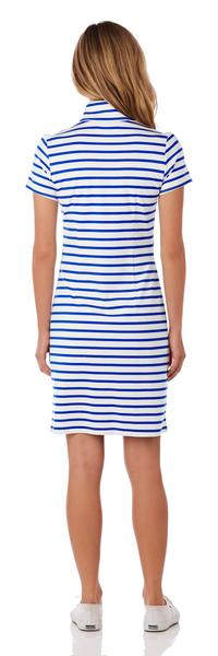 Jude Connally Alexia Ponte Dress in Classic Stripe White & Cobalt