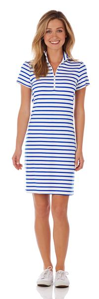 Jude Connally Alexia Ponte Dress in Classic Stripe White & Cobalt SALE! - Saratoga Saddlery & International Boutiques