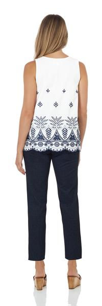Jude Connally Aria Top in Marrakesh White/Navy Embroidery SALE! - Saratoga Saddlery & International Boutiques