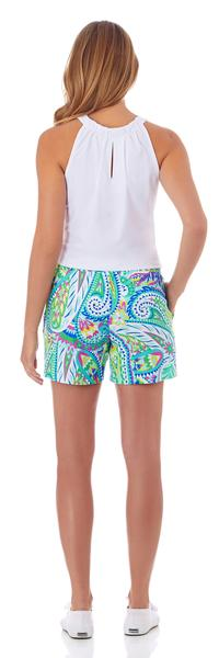Jude Connally Ariel Short in Jungle Paisley Aqua - FINAL SALE - Saratoga Saddlery & International Boutiques